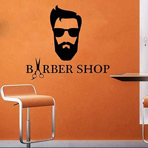 haotong11 Hipster Style Wandtattoo Mann Barbershop Vinyl Aufkleber Mode Brille Fenster Vinyl Aufkleber geschnitten Bart Gesicht Salon 47 * 42 cm