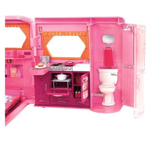 barbie p3599 accessoire poup e camping car rose. Black Bedroom Furniture Sets. Home Design Ideas