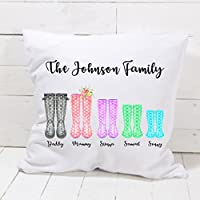 Personalised Family Wellington Boot Cushion Pillow Welly