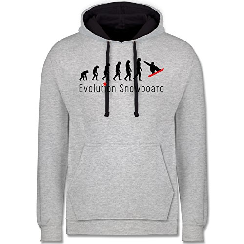 Evolution - Evolution Snowboard - Kontrast Hoodie Grau meliert/Dunkelblau