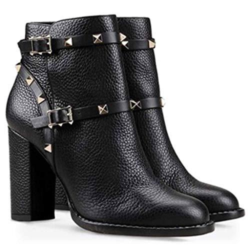 Xiaodun77 Frauen Martin Stiefel High Heel Sexy Schuhe schnüren Sich Oben Buckle PU-Leder-runde Zehe Chunky-Block Ankle Damen Knight Boots,Schwarz,44 (Boot Kalb Breites Ultra)