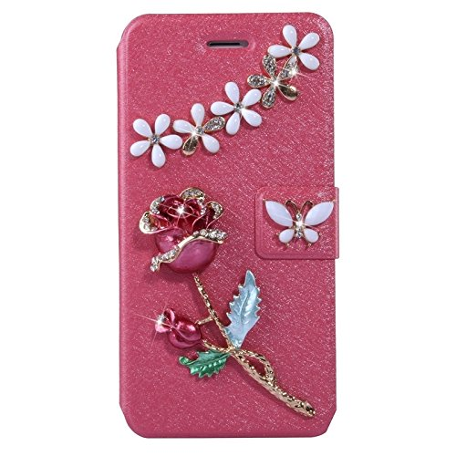 wkae Schutzhülle Fall &, natur Silk Textur & stereoscopicdiamond besetzt Rose Horizontal Flip Leder Case mit Halter & Cardslot für iPhone 6& 6S rose