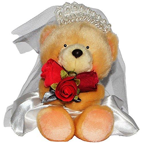 Unbekannt Plüschtier - Teddybär als Braut / mit Brautkleid & Brautschleier - 17 cm - Sup..