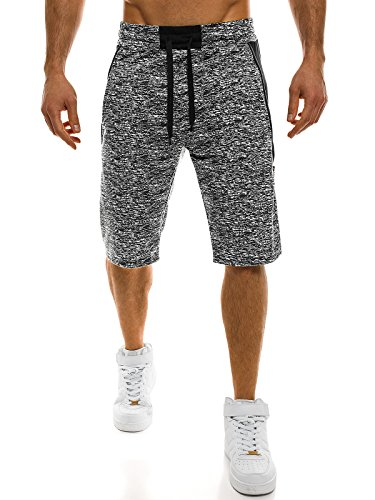 OZONEE Herren Hose Shorts Sportshorts Bermudas Knielang Jogg Fitness Sportshorts Kurzhose Sporthose Fitness RED FIREBALL w1106 DUNKELHELLGRAU 2XL