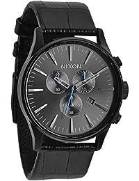 Nixon Herren-Armbanduhr XL Sentry Chrono Chronograph Quarz Leder A4051886-00