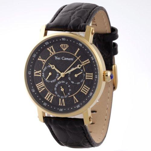 Yves Camani Barocco - Reloj de cuarzo para hombres, con correa de cuero de color marrón, esfera negra