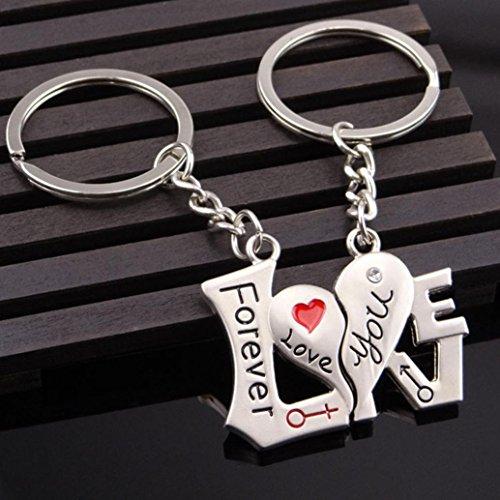 sunnymi Weihnachten Deco I Love You Schlüsselanhänger Ich Liebe Dich Herz Pfeil Schlüssel Paar Schlüsselring Liebhaber Geschenk Valentinstag Weihnachten Liebe Zeigen (85x40x15mm, Silber)