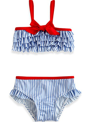 Vaenait Baby 74-110 Girls Takini Swimsuit without Cap Frill Girl Sky XS