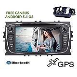 CANBUS gratuita Quad Core Android 5.1 del doppio due di baccano 7 pollici HD touch-screen lettore DVD per Ford / Mondeo / S-MAX / C-MAX / Galaxy / FOCUS 2 Radio FM / GPS AM navigazione 1080P 3D Mappa Car Audio Stereo + Macchina fotografica posteriore immagine