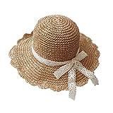 Yjzq da donna a falda paglia cappello da sole pieghevole spiaggia Panama cappelli a tesa larga estate protezione UV cappello da sole elegante e fiocco con visiera regolabile moda genitore-bambino Cap, beige, adult size: head circumference ( 56-62 cm)