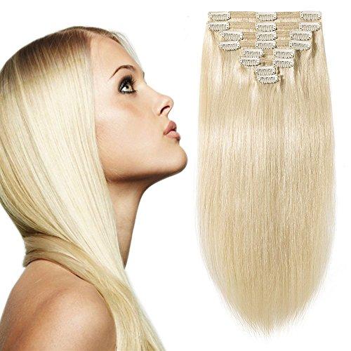 Extension capelli veri clip volumizzante #60 biondo platino - 60cm 170g - 8 fasce folte double weft full head 100% remy human hair lisci lunghi naturali