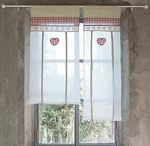 vorhang gardine scheibengardine landhausstil kariert herz 60x90 wei beige rot 70. Black Bedroom Furniture Sets. Home Design Ideas