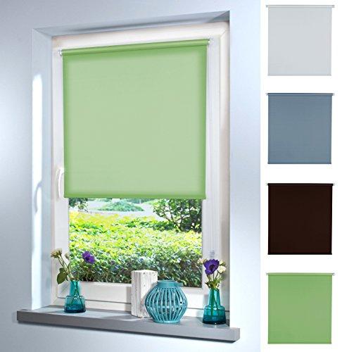 Preisvergleich Produktbild Rollo Klemmrollo Seitenzugrollo Tageslichtrollo von Mass-Gardinen-Shop,  blickdicht sichtschutz Klemmfix ohne Bohren mit Klemmträger 90cm x 130cm (Light Green)