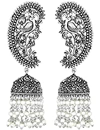 Peora Silver Oxidised Stylish Traditional Peacock Earrings For Women Girls
