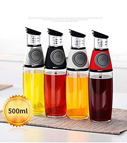 Aminno - Botella dispensadora de aceite de oliva, 500 ml, con boquillas sin goteo, dispensador de aceite para cocina, medidor de aceite vegetal y vinagre plata