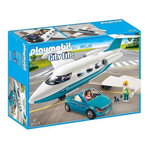 PLAYMOBIL 9504 Spielset Executive private-Jet Flugzeug und Auto Cabrio inkl 3 Figuren Hund Zubehör .