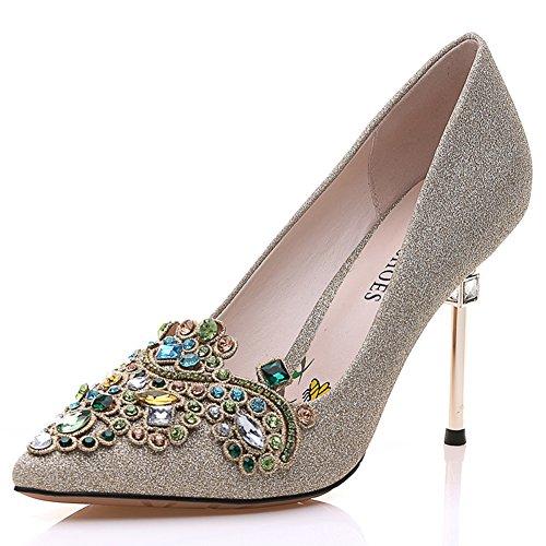 Ladies High Heels,Scarpe A Punta di Spillo,Diamante con I Pattini Luminosi del Fronte A