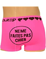 Boxer Humoristique Homme, Rose Fluo et Noir, Ne Me Faites Pas Chier