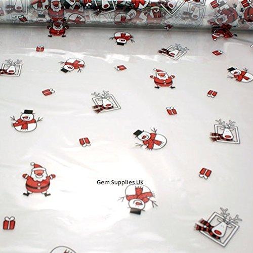 Papá Noel Muñeco de nieve y reno Navidad Celofán Película–impreso en claro Gift Wrap–Papel de regalo de 30metros x 80cm