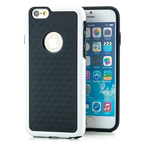Saxonia Hülle + Displayschutzfolie Apple iPhone 6 / 6S Case Silikon Slim Cover Diamond Design Silikonhülle Rot Weiß