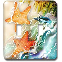 3dRose lsp_243245_2 Two Starfish and Seashell Near Ocean Along the Seashore Digital Art-Double Toggle Switch