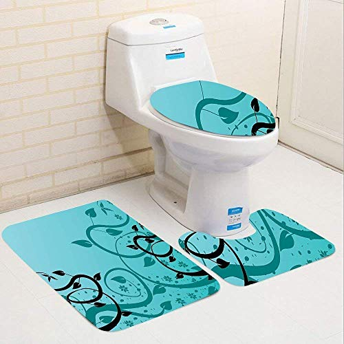 IconSymbol Teal Collection an Abstract Floral Modern Illustration with Winding Tendrils Leaves Vines and Flowers Black Teal Bathroom Carpet Rug,Non-Slip 3 Piece Bathroom Mat Set -