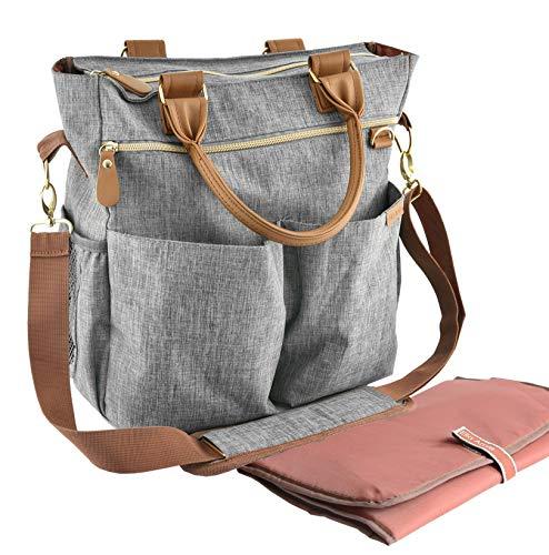 Wickeltasche mit Wickelunterlage - ELLA AMIE - Wickeltasche - Mama-Tasche für das Krankenhaus - Große Reisetasche - Grau