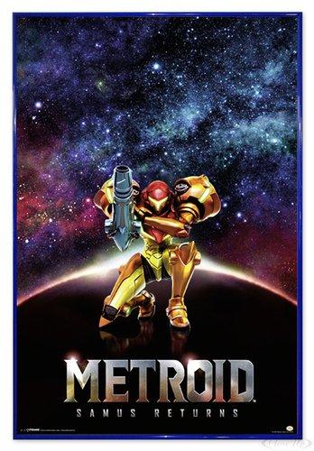 Close Up Metroid Samus Returns Poster (94x63,5 cm) gerahmt in: Rahmen blau