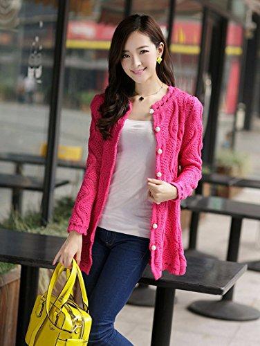 Mode Feminine Slim Col V Cardigan En Maille Evider Pull Hauts Manteau Veste rose rouge