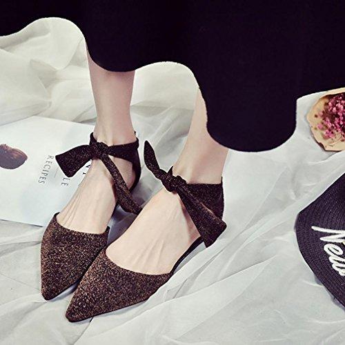 Transer® Damen Flach Mokassins Kunstleder+Gummi Einzelschuhe Bowknot Ankle-strap Spitzen Schwarz Grau Braun Schuhe Wohnungen Braun
