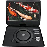"Koramzi Portable 10"" Swivel DVD Player with Rechargeable Battery / USBSD Reader / AV Out / Headphone Jack / Remote Control/ AC-DC Power Adaptor/ Multi-Region DVD Format- PDVD-1010"