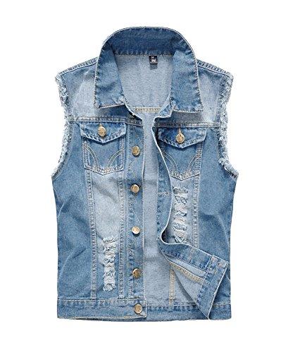 LaoZan Panciotto Jeans Uomo Gilet Denim Giacca Senza Maniche Cappotto Jeans Vintage Azzurro Chiaro M