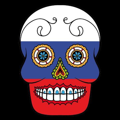 V-T-Shirt - Russland - Russia - Sugar Skull - Fahne - Damen Schwarz