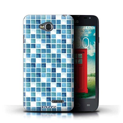 Kobalt® Imprimé Etui / Coque pour LG L65/D280 / Violet/Vert conception / Série Carreau Bain Bleu/Turquoise
