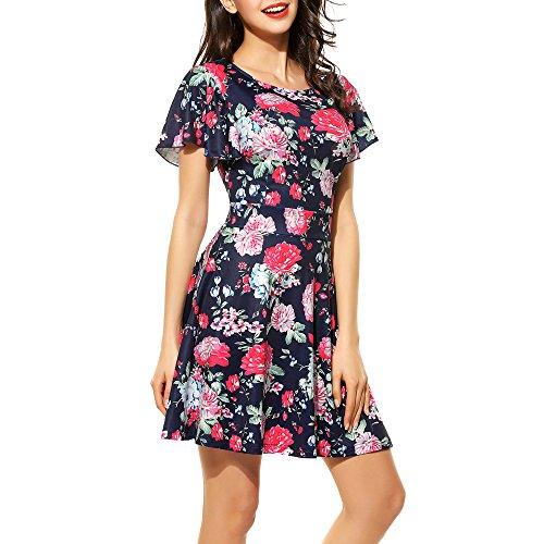 Floral Zearo Aufflackernhülse Damen Kurze Alinie Vintage Kleider N0OwPXk8n