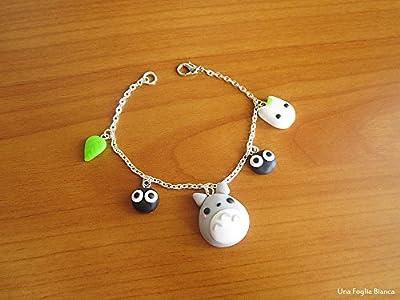 Bracelet à breloques Totoro Miyazaki bijoux fait main en pâte polymère fimo