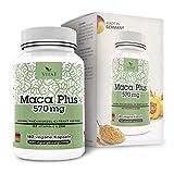 Maca Plus 570mg di VITA1 • 180 capsule (fornitura per 6 settimane) • con Vitamina C e Zinco • Fatto in Germania