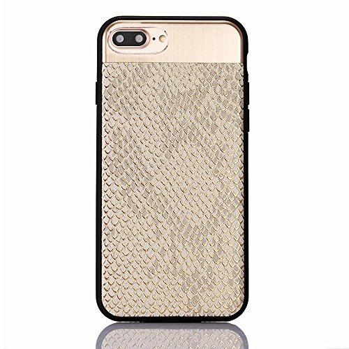"iPhone 7Plus Hülle, iPhone 7Plus Schwarze Silikontasche, CLTPY Ultra Hybrid 2 in 1 Plating TPU Schutzfall, Dünne Weben Muster Series Stoßfest Case für 5.5"" Apple iPhone 7Plus (Nicht iPhone 7) + 1 x St Silber B"