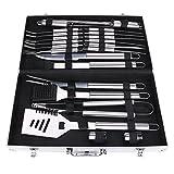 Edelstahl BBQ Grill-Werkzeug-Set mit 24 Grill-Zubehör BBQ-Kit Picknick-Werkzeug -Food grade Edelstahl mit Aluminium Tragetasche 18.89 * 10.62 * 3.14inch (24)
