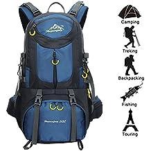 Newpurslane - Mochila de senderismo de 50L (45+ 5), de nailon impermeable para deportes al aire libre, camping, viaje, pesca, ciclismo, esquí, azul oscuro