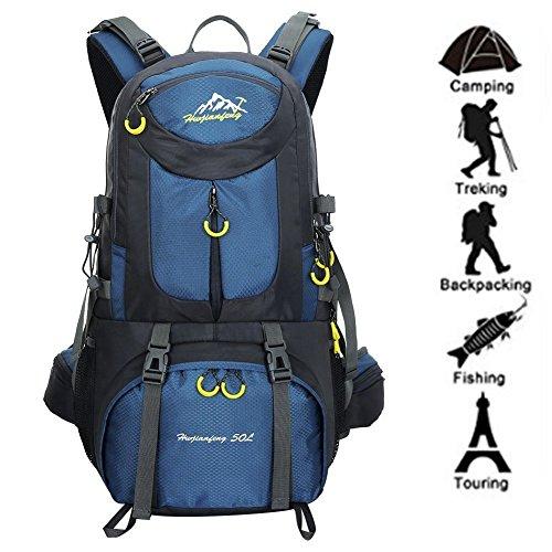 Zaino da Trekking 50 L (45 L+ 5 L), in Nylon Impermeabile Outdoor Zaino, Tracolla di Regolazione Traspirante Zaino da Escursione by Newpurslane