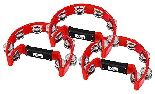3er Set XDrum Hand Tambourin Halbmond Form (Tambourine, 16 Paar verchromte Stahl-Schellen, Kunststoff) rot