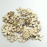 Sharplace 50 Stück Holzherzen Holz Verzierung für Hochheitsdeko Tischdeko Streudeko DIY Handwerk - Blume Formen - 6