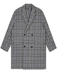 Cappotto di lana Cappotti Cappotto di lana da Uomo Giacca a Vento Lunga con  Collo Piatto Cappotto a Doppio Petto Caldo Quadri Giacca da Paio… 8cbf20d70f9