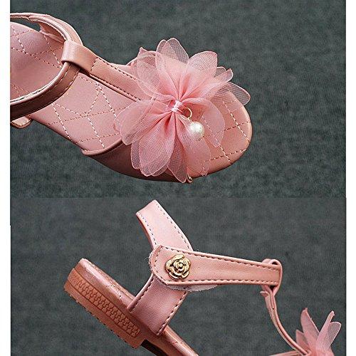 Sandales filles fleurs renversent sandales plates douces pantoufles Bohême tongs extérieur sandales filles Scothen princesse chaussures fermées sandales romaines talon compensé Sandales/coin tirette Rose