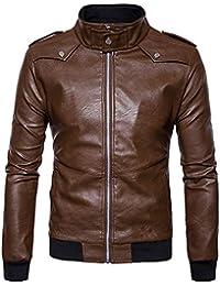 d61202f7dc410 Veste en Cuir Revers Homme Col De Fourrure en Cuir Poche Veste Volante  Tactical Outwear Manteau