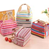 #4: Stripe Lunch Bags Insulated Thermal Tote Bags Picnic Food Lunch Box Bag for Women Girls Ladies Kids