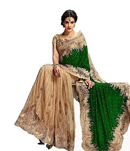 BEST DEALS Women's Nylon Velvet Saree (Ct_917007 _Green)