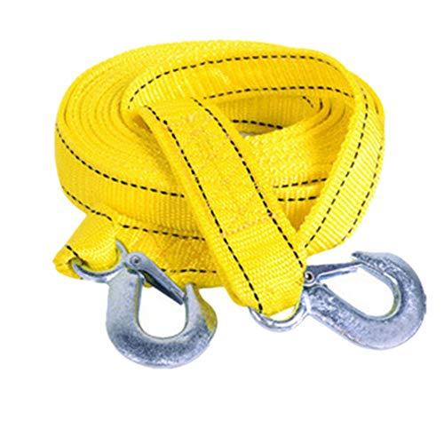 Durable FairytaleMM 4 Meter Verwenden Abschleppseil-Bügel-Kabel mit U-Haken Schäkel hochfestes Nylon für Auto-LKW-Anhänger SUV (gelb und silber)