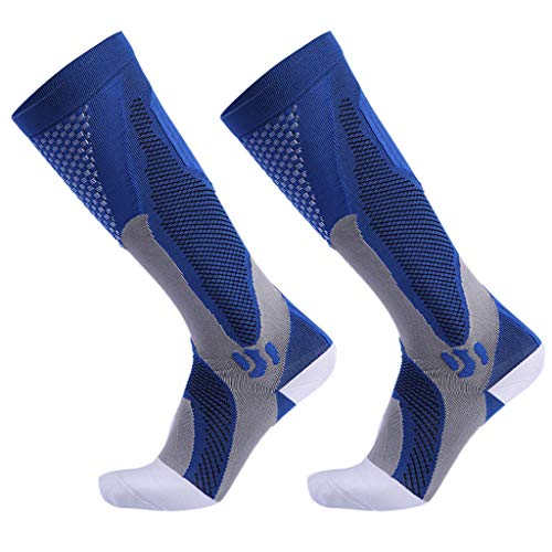 chenpaif Men Women Unisex Leg Support Stretch Outdoor Sport Knee High Long Compression Socks Running Soccer Cycling Polyester Hosiery Blue 1# S/M